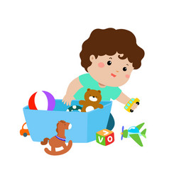 xa of kid boy storing toys vector image