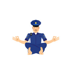 Yoga cop police officer yogi policeman zen and vector