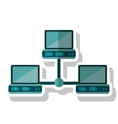 Isolated laptop and data base design vector
