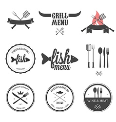 Restaurant menu design elements set vector