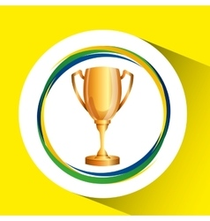 Trophy olympic games brazilian flag colors vector
