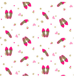 Chic girl pink pumps fashion seamless pattern vector