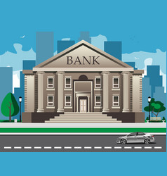 Bank building with city skylines behind vector