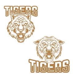 Tigers emblem template with tiger head design vector