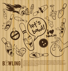 Cartoon bowling set bowling alley vector