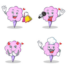 Cotton candy character set with shopping karaoke vector