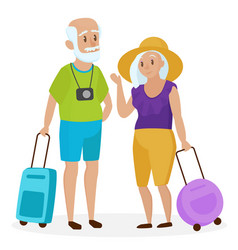 Old senior people tourists with suitcases happy vector