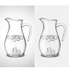 Glass jug with water and ice vector