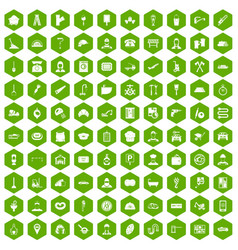 100 working professions icons hexagon green vector