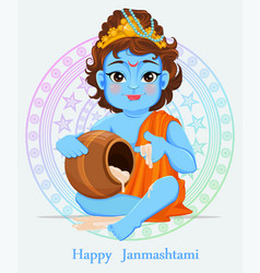 Happy janmashtami celebrating birth of krishna vector