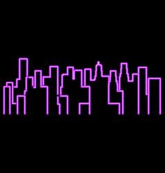 Neon city outline landscape megapolis vector