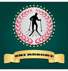 Ski resort logo Silhouette of the skier vector image