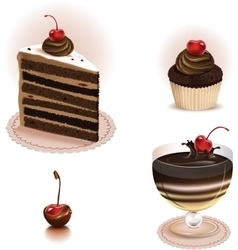Chocolate dessert set vector