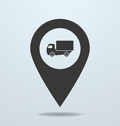 Map pointer with a truck symbol vector
