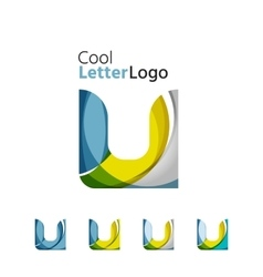 Set of abstract letter company logos business vector