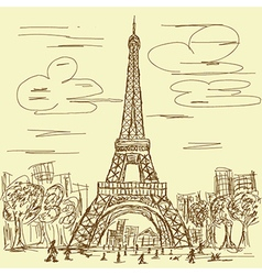 Vintage hand drawn of eifel tower paris france vector
