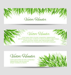 Headers with green leaves vector