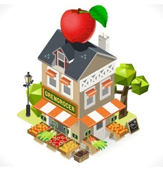 Greengrocer shop city building 3d isometric vector