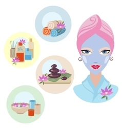 Girl at spa treatment vector