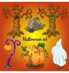 Set of objects and symbols of the halloween vector