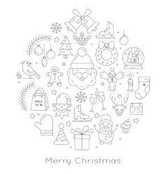 Christmas ball - black and white line icons vector image