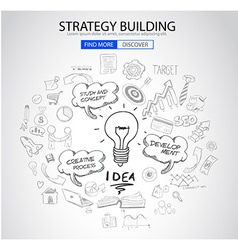 Strategy building concept with doodle design style vector