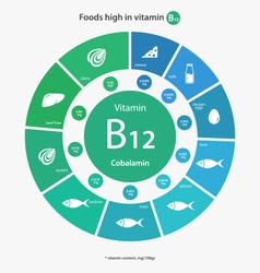 Foods high in vitamin b12 vector