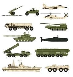 Military technic icon set and armor tanks flat vector