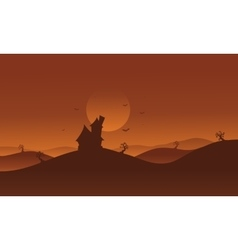 Halloween castle in hills scenery vector