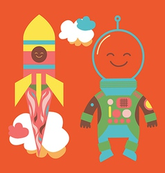 Astronaut and rocket vector