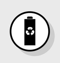 Battery recycle sign flat vector