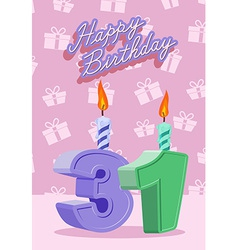 Birthday candle number 31 with flame vector image vector image
