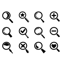 black magnifying glass icons set vector image