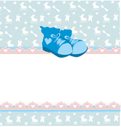 Blue baby shower card with baby boy shoes vector