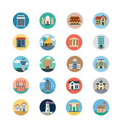 Buildings flat colored icons 3 vector