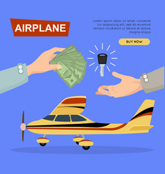 Buying airplane online plane sale web banner vector
