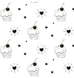 Cake pattern Pie greeting print Cupcake vector image