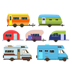 Campers cars set different resort trailers vector