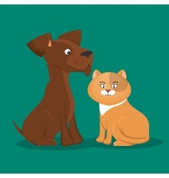 cartoon pets cat dog icon vector image