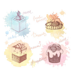 colored sketches of cupcakes berry pie and cake vector image vector image