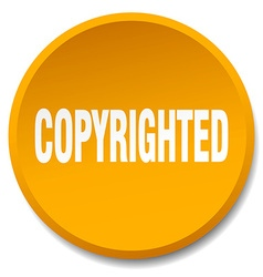 copyrighted orange round flat isolated push button vector image vector image