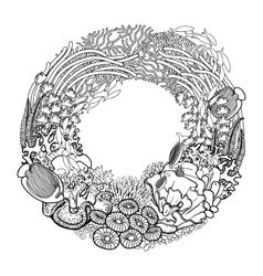 Coral reef wreath vector