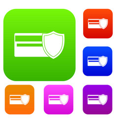 Credit card and shield set collection vector
