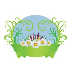 Crocuses and daisies vector image vector image