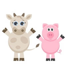 Cute cow and pig isolated on white vector