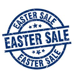 easter sale blue round grunge stamp vector image vector image
