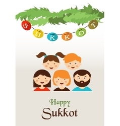 Family in the sukkah sukkot jewish holiday vector