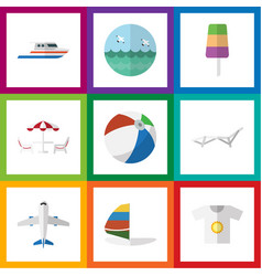 Flat icon season set of boat deck chair aircraft vector