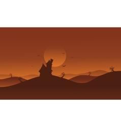 Halloween castle in hills scenery vector image vector image