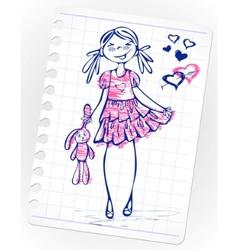Hand drawn fashion girl vector